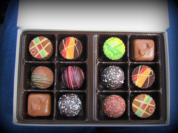 Don't these look delicious? They were sinful, I tell you! Chocolates from Blue Ridge Chocolates.